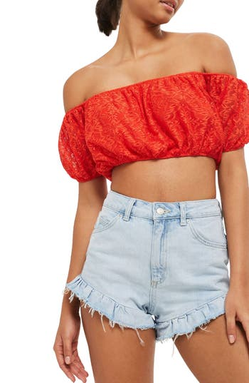 Women's Topshop Lace Off The Shoulder Crop Top