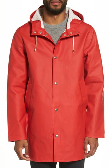 Men's Stutterheim Stockholm Waterproof Hooded Raincoat, Size Small - Red