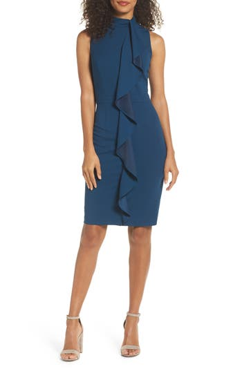 Adrianna Papell Ruffle Sheath Dress, Blue