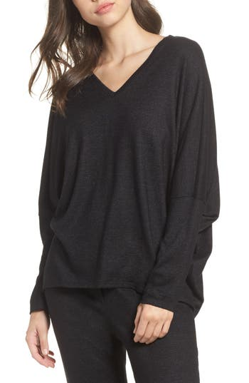Natori Retreat Sweater Knit Top, Black