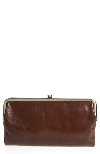 Women's Hobo 'Lauren' Leather Double Frame Clutch - Brown