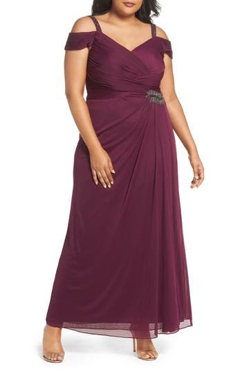 Plus Size Alex Evenings Embellished Cold Shoulder Gown, Red