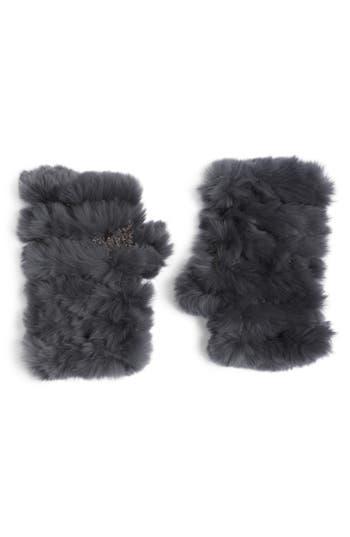 Jocelyn Genuine Rabbit Fur Fingerless Knit Mittens, Size One Size - Grey