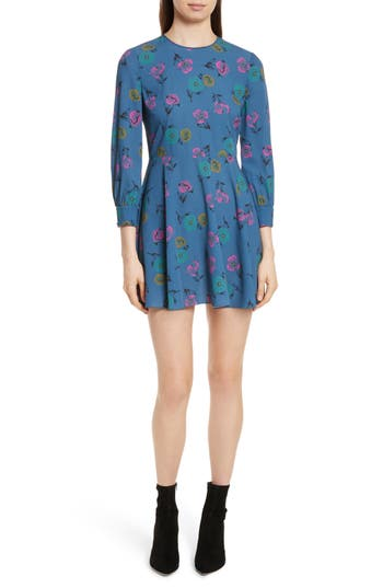 Red Valentino Anemone Floral Print Crepe Dress, US / 40 IT - Blue