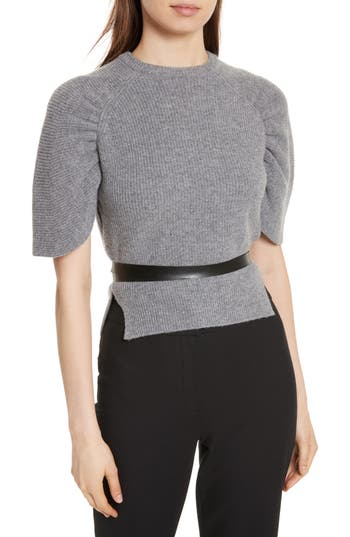 Red Valentino Belted Carded Wool Sweater, Grey
