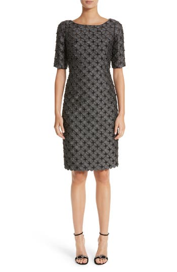 Carmen Marc Valvo Dot Applique Sheath Dress, Grey