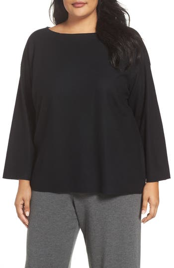 Plus Size Eileen Fisher Boiled Wool Jersey Sweater, Black