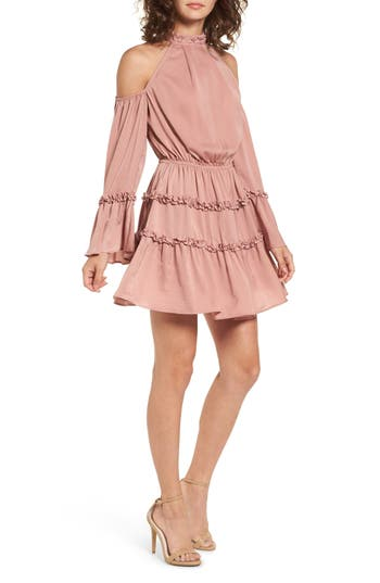 The Fifth Label Banjo Ruffle Cold Shoulder Dress, Pink