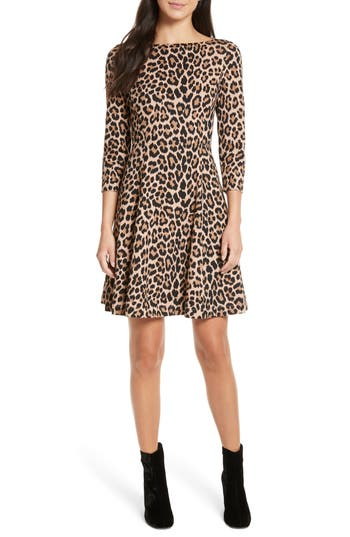 Kate Spade New York Leopard Print Ponte Fit & Flare Dress, Brown