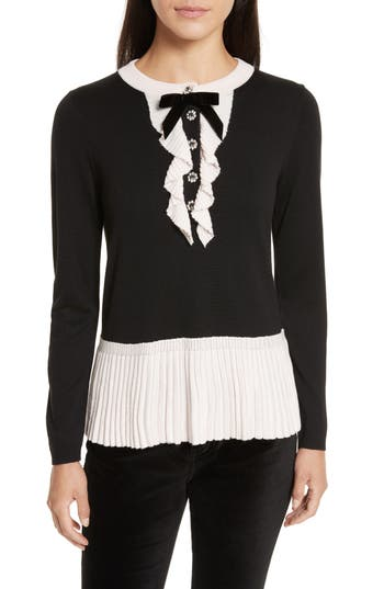 Women's Kate Spade New York Pleated Peplum Sweater, Size X-Small - Black