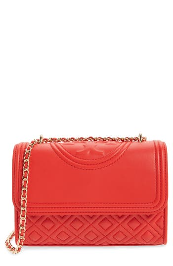 Tory Burch 'Small Fleming' Quilted Leather Shoulder Bag - Red