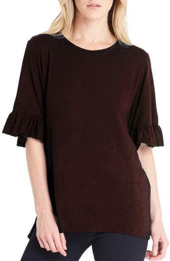 Women's Michael Stars Ruffle Sleeve Top, Size One Size - Burgundy