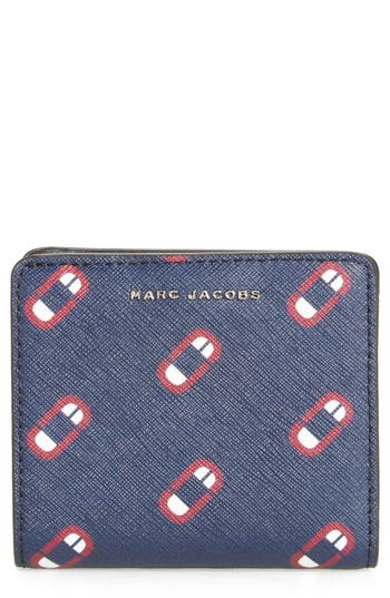 Marc Jacobs Scream Saffiano Leather Wallet - Blue