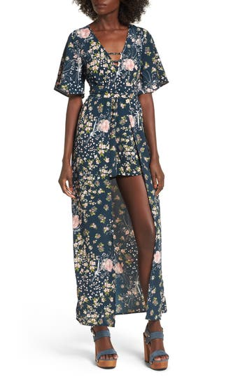 Women's Band Of Gypsies Moody Floral Print Maxi Romper, Size X-Small - Blue/green