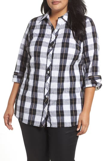 Plus Size Foxcroft Fay Crinkle Plaid Stretch Cotton Blend Tunic Shirt, Black