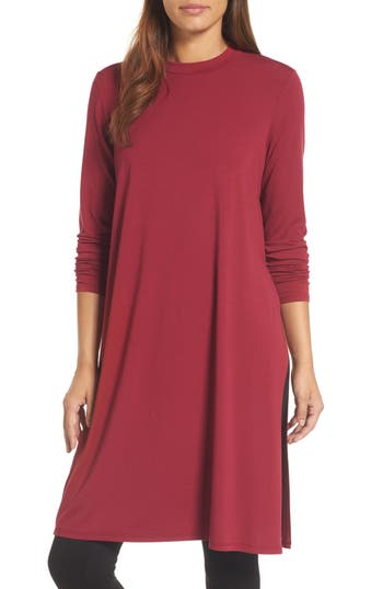 Eileen Fisher Crewneck Stretch Knit Caftan, Red