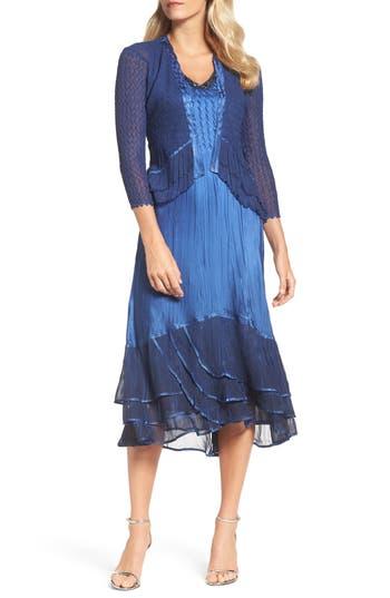 Komarov Embellished Tiered Hem Dress With Jacket, Blue