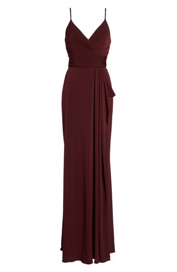 Amsale Celina Mock Wrap Gown, Red