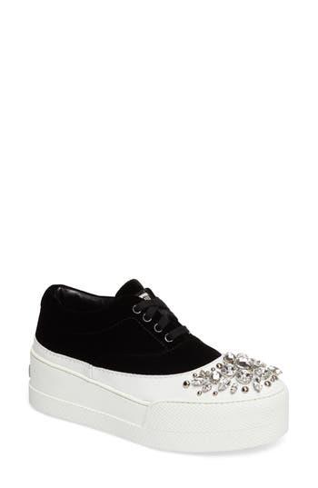 Miu Miu Embellished Flatform Sneaker, Black