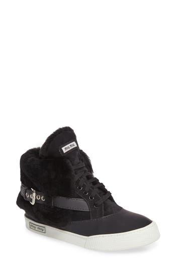 Miu Miu Genuine Shearling Cuffed Buckle Strap Sneaker, Black