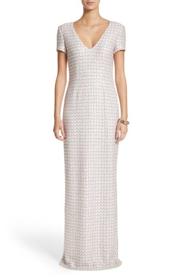 St. John Evening Sequin Scallop Knit Column Gown, White
