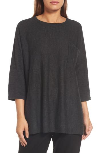 Eileen Fisher Lightweight Merino Wool Sweater, Grey