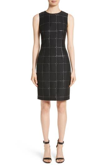 St. John Collection Metallic Jacquard Sheath Dress, Black