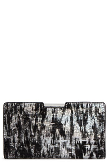 Milly Brushstroke Suede Frame Clutch - Metallic