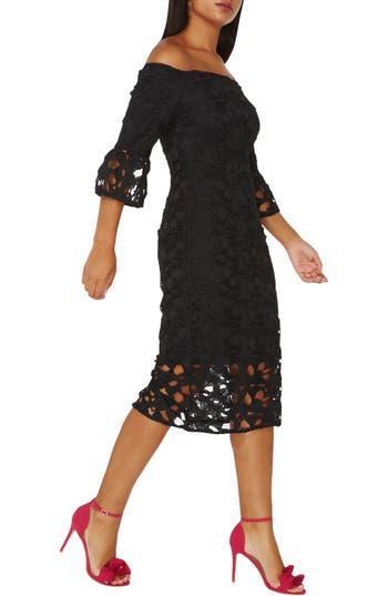 Dorothy Perkins Lace Off The Shoulder Dress, US / 14 UK - Black