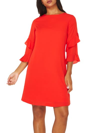 Women's Dorothy Perkins Ruffle Bell Sleeve Shift Dress, Size 6 US / 10 UK - Red