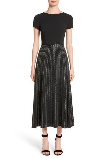 St. John Collection Embellished Stretch Cady Dress, Black