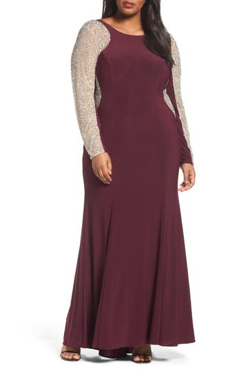Plus Size Xscape Embellished Jersey Gown, Red