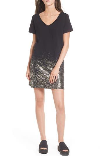 Bp. Foil Detail T-Shirt Dress, Black