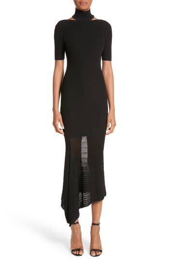 Cushnie Et Ochs Asymmetrical Knit Dress, Black