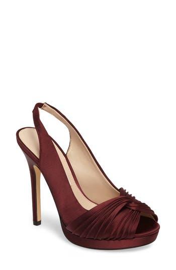 Nina Felyce Peep Toe Slingback Pump, Burgundy
