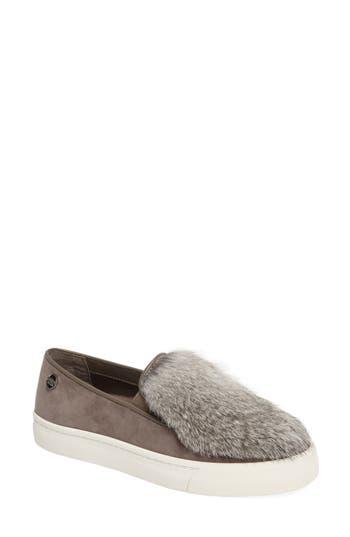 Louise Et Cie Bershner Genuine Rabbit Fur Slip-On Sneaker, Grey