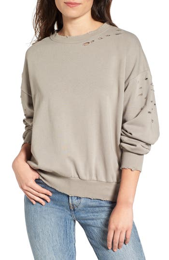 Women's Soprano Holey Sweatshirt, Size X-Small - Grey