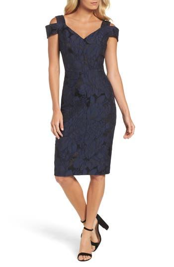 Maggy London Floral Jacquard Cold Shoulder Sheath Dress, Blue