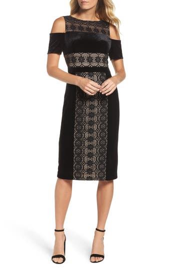 Maggy London Velvet & Lace Cold Shoulder Sheath Dress, Black