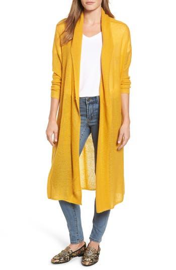 Women's Press Tissue Knit Longline Cardigan, Size X-Small - Yellow