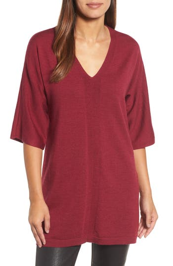 Eileen Fisher Merino Wool Tunic Sweater, Red