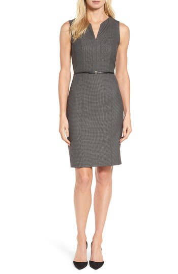 Boss Dalanda Belted Sheath Dress, Size Grey