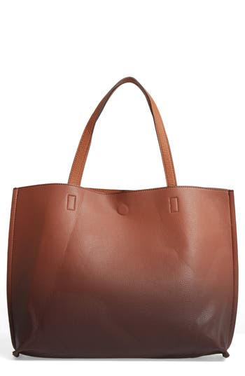 Street Level Reversible Faux Leather Tote - Brown