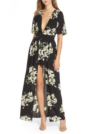 Women's Socialite Floral Print Maxi Romper, Size X-Small - Black