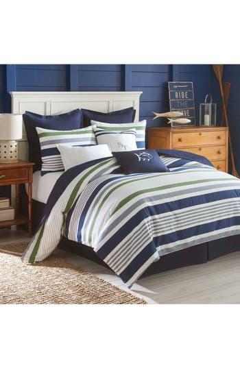 Southern Tide Long Bay Stripe Comforter, Sham & Bed Skirt Set, Size Twin - Blue