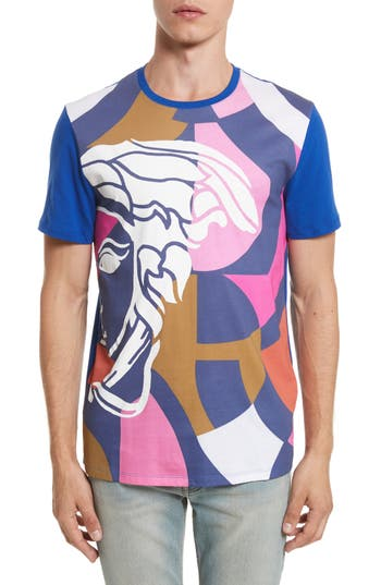 Men's Versace Collection Abstract Medusa Print T-Shirt, Size Large - Blue