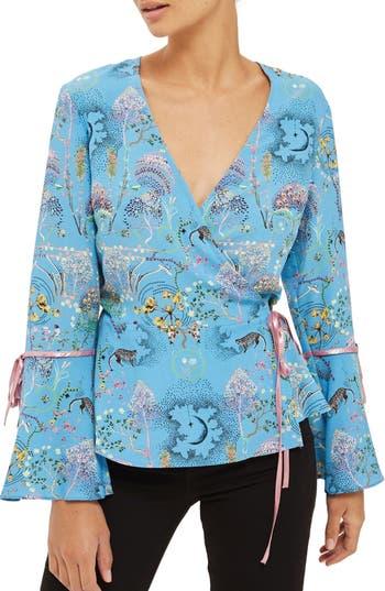 Women's Topshop Magical Leopard Print Wrap Blouse