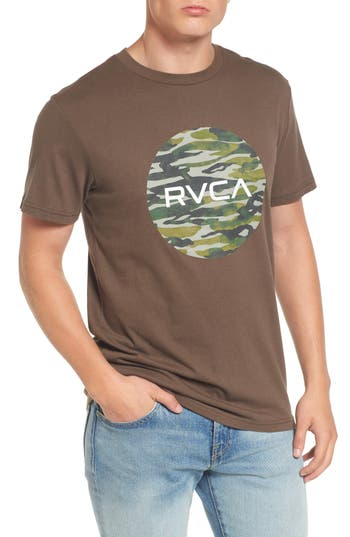 Rvca Water Camo Motors Graphic T-Shirt, Brown