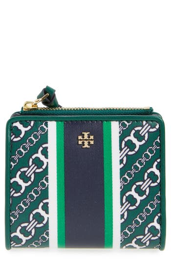 Tory Burch Mini Gemini Link Coated Canvas Wallet - Green