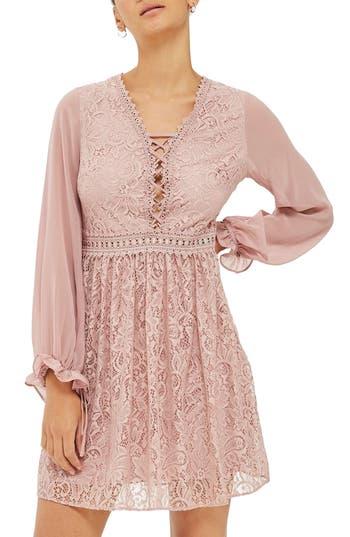 Topshop Laced Back Minidress, US (fits like 0) - Pink